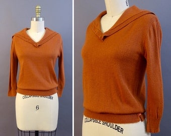 40s Ray of Copper Sweater- 1940s Vintage Sweater - Red Brown Copper Top Sweater w Sailor Collar - Little Side Slits w Buttons - St. Andrews