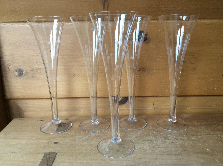 Vintage hollow stem crystal flute trumpet champagne etched - Champagne flutes hollow stem ...