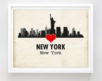 New York City Print New York Skyline Print Love NYC Print Printable Art Print NYC Poster Urban Art Travel Poster Gift Idea Digital Download