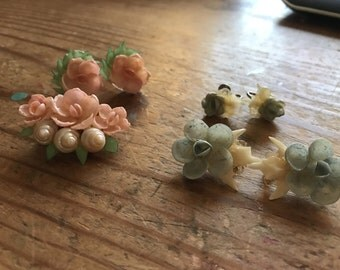 Vintage shell flowers-choose between the pink or blue set