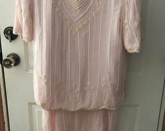 Vintage pink glamour shirt-pink sequence and pearl accents