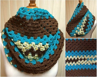 Brown and Blue Hooded Cowl, Turquoise Cowl Scarf, Brown Cowl Scarf, Crochet Cowl Scarf, Brown Scarf, Turquoise Scarf, Gifts for Her