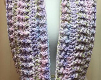 Pastel Scarf, Crochet Scarf, Lavender Scarf, Purple Scarf, Chunky Scarf, Infinity Scarf, Crocheted Scarf, Circle Scarf, Gifts for Her