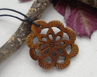 Horn carved flower, pendant, charm, with jewellery band, necklace