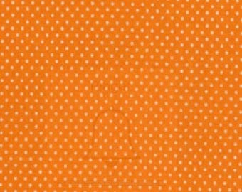 Quilting Cotton Fabric - Micro Dots on Orange / White Spots on Orange