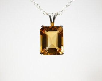 Citrine necklace, brandy citrine jewelry, sterling silver, citrine pendant necklace, genuine citrine necklace 10x8 mm, silver necklace chain