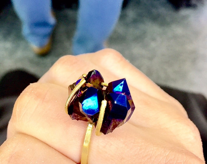 Blue Aura Crystal Statement Ring