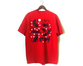 Vintage 1987 I Love Cats tshirt cute cat lady kitty tshirt