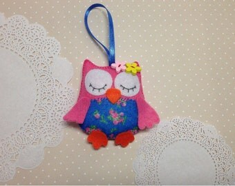 Felt owl-Owl ornaments--Owl decor-Hanging ornament-Pink owl-Blue owl-Felt animals-Nursery decor-Nursery owl-Baby owl-Owls