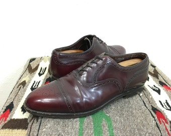 80's leather oxford shoes straight tip made in usa size 10
