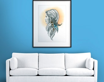 The Feather Girl - Print