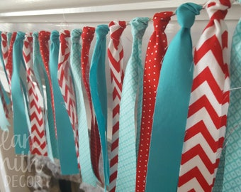 little red wagon high chair banner * aqua and red rag garland * dr seuss birthday * dr seuss baby shower * red and aqua banner *radio flyer
