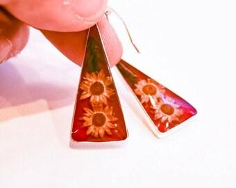 Real Flower Earring Resin  Flower Earrings Resin Jewelry Dry Flower Earrings Bridesmaid Earrings Silver Plate Earring Real Flower Jewel