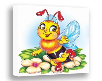 Bee Nursery Wall Decor Kids Canvas Art Baby Room Toddler Garden Insect Bumblebee