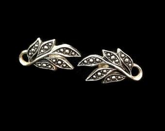 Leaf Earrings - Clip on Earrings - Earrings - Leaves - Leaf - Silver Earrings - Vintage - Nature Earrings - Unusual Gift for Her - Autumn