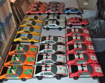 Large Tinplate racing cars, emergency vehicles and sports cars vintage c1970s trade collection lot