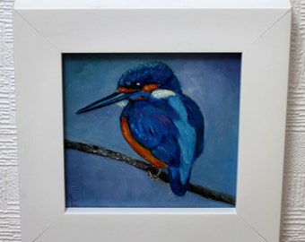 Kingfisher, Original oil painting. Bird Art. Gift for her, Gift for him, Bird art, Bird painting, wildlife painting, Impasto painting.