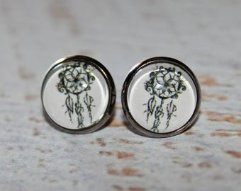 Dreamcatcher Black & White Round Glass Cabochon Stud Earrings 12mm Hypo Allergenic Stainless Steel Nickel Free