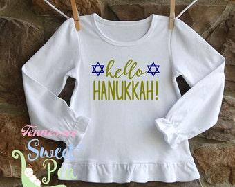 Hello Hanukkah, Hanukkah Blouse, Girl's Hanukkah Shirt, Children's Clothing, Toddler Hanukkah, Jewish Holiday Shirt