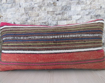 small size lumbar pillow 10x20 kilim pillow pale color handwoven vintage turkish pillow handmade pillow decorative bohemian pillow