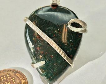 Sterling Silver Bloodstone Argentium Pendant