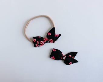 """Pitch Black Petals Fabric tiny """"Azalea"""" Bow"""