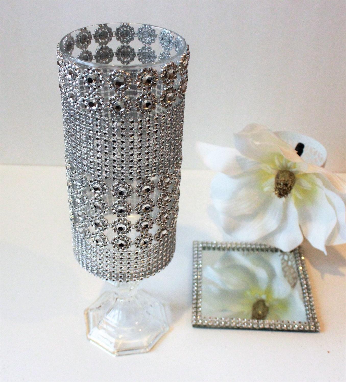 Tall glass candle holder wedding centerpiece bling
