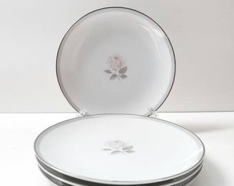 Vintage Noritake Horizon #6439 Gray Band Pink Center Rose Bread and Butter Plates, Replacement Set of 4