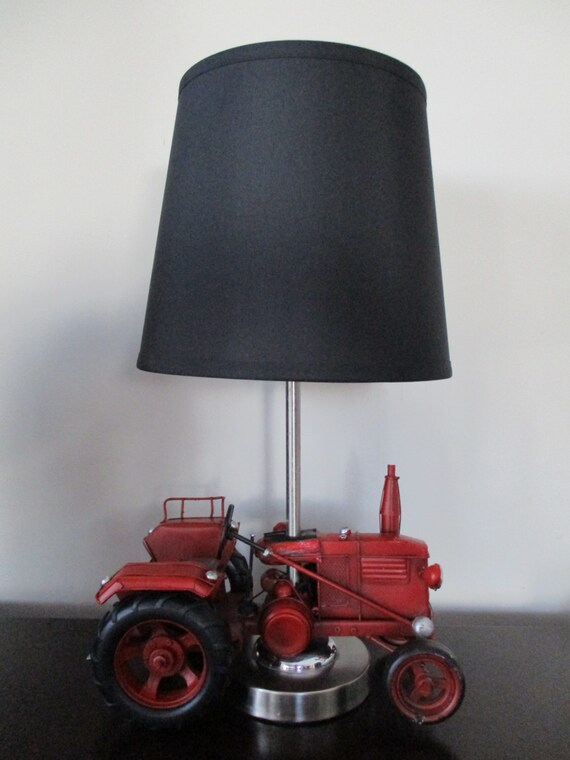 Tractor Lamp Shades : Ready to ship red metal tractor choice of shade hand painted