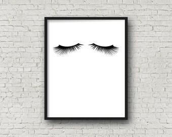 Eyelashes, Eyelash Print, Modern Minimalist, Fashion Poster, Makeup Print, Minimalist Poster, Girl's Room Decor, Scandinavian Home, Wall Art