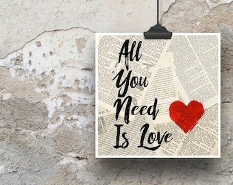 All You Need is Love Poster Print (Perfect for Valentine's Day)