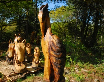 120cm Chainsaw Carving Oak Wood Heron