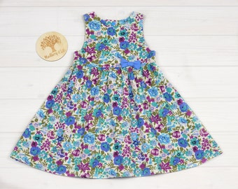 Blue Floral Tea Party Dress with Bow. Size 2