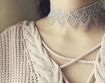 Silver Lace Choker Necklace