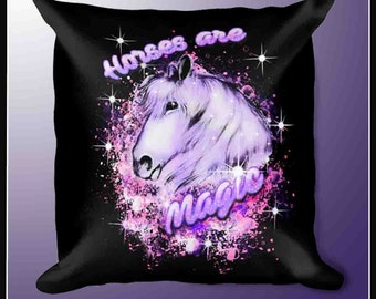 """Horse Lover Throw Pillow-18""""x 18"""" Horses are Magic Pillow for Horse Lovers"""