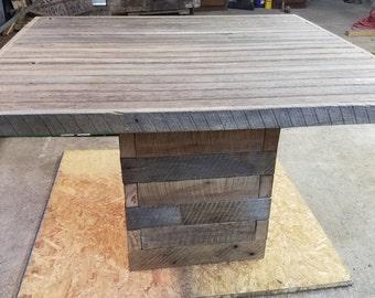 Reclaimed Lumber Pedestal Table
