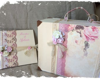 Guestbook and URN suitcase for Bohemian chic wedding