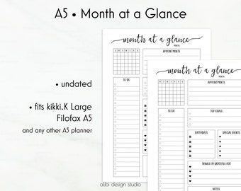 Month at a Glance, A5 Planner Inserts, Monthly Planner, Planner Refills, Filofax A5, kikkiK Large, A5 Inserts, Planner Printable, To Do List