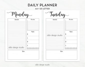 Daily Planner, A4 Printable, Undated Planner, Daily Schedule, A4 Planner, Printable Planner, Planner Insert, Weekly planner, Daily Organizer