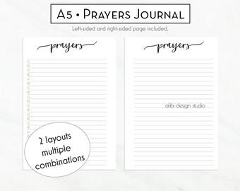 Prayers Planner, Prayer Printable, A5 Planner Inserts, Daily Devotional, Christian Planner, A5 Inserts, Prayer Journal, Faith Planner