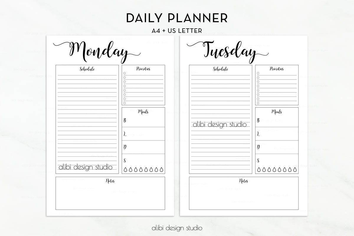 Daily Planner A4 Printable Undated Planner Daily Schedule