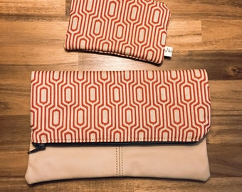 Red/beige Fold Over Clutch,  Beige Genuine Leather, cow leather,  Zipper Clutch, gift for her, Ipad- Tablet Case- day- evening Purse