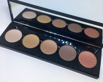 5 color eye shadow palette in browns with interchangable pans