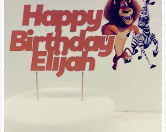 Madagascar--Inexpensive Personalized Cake Toppers with Name & Character--Kid's Birthday Party Decorations