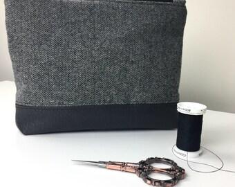 Gray Herringbone Zipper Pouch, Gray Cosmetic Bag, Gray Clutch, Simple Makeup Bag, Toiletry Bag, cute makeup bag, gift for her