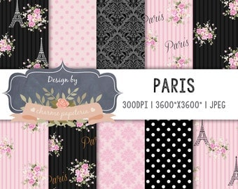 SALE Shabby Chic Paris, Paris digital paper, Paris Theme Patterns, Eiffel tower, Pink, Black, Roses, Glamour For Party, Baby shower paris