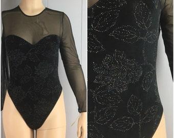 Vintage Womens 1990s Strapless Illusion Bodysuit with Metallic Floral Embellishments NWT | Size M/L