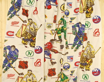 Vintage NHL Curtains 1972-74 / Set of 2 Panels / All Teams from the 1972 Expansion Year / Retro Collectable Rare