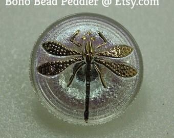 Czech Glass Button, Dragonfly Button, 23 mm