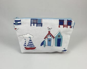 Small Pouch, makeup bag or pencil case of beach huts and sailing boats